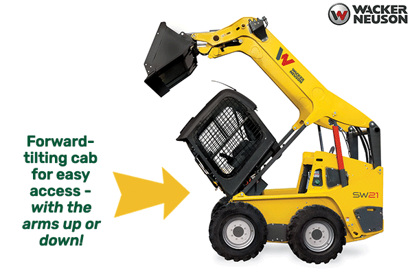 Wacker skid steers have a forward-tilting cab.