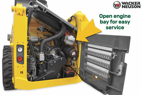 Wacker Neuson skid steers have an open engine bay for easy service
